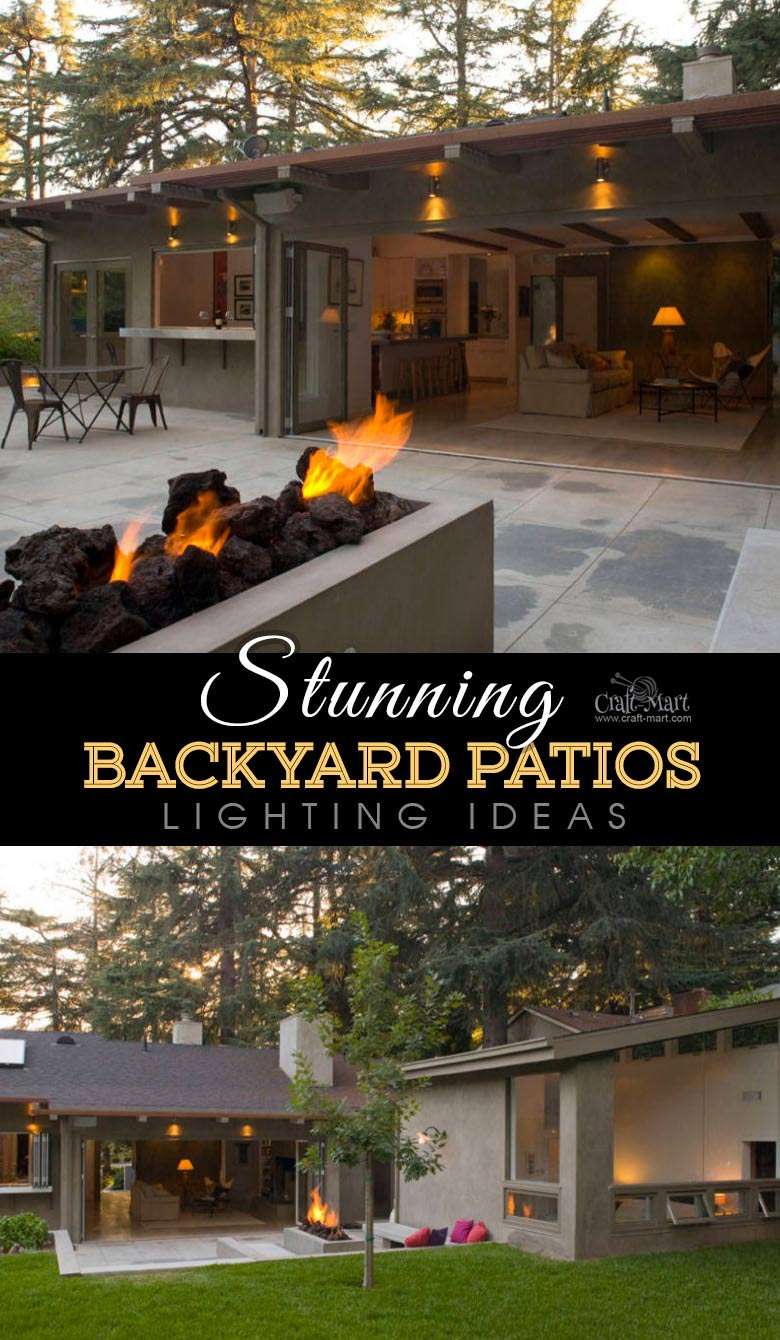 Functional small patio with ceiling lights and gas firepit. One of the best backyard patio designs with outdoor ceiling lights that may help with your own patio ideas or outdoor landscape lighting. Perfect for small backyard patio. #outdoorspace #outdoordecor #outdoorspaces #patiodecor #patio