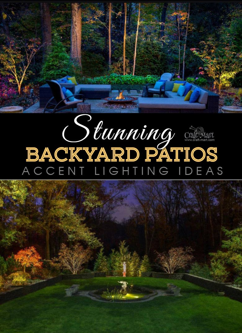 Accent landscape lighting creates a magical garden to enjoy. One of the best backyard patio designs with outdoor ceiling lights that may help with your own patio ideas or outdoor landscape lighting. Perfect for small backyard patio. #outdoorspace #outdoordecor #outdoorspaces #patiodecor #patio
