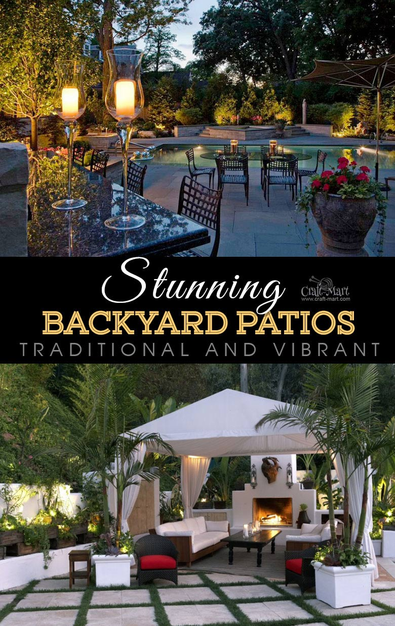 Traditional and vibrant backyard patio design and lighting. One of the best backyard patio designs with outdoor ceiling lights that may help with your own patio ideas or outdoor landscape lighting. Perfect for small backyard patio. #outdoorspace #outdoordecor #outdoorspaces #patiodecor #patio