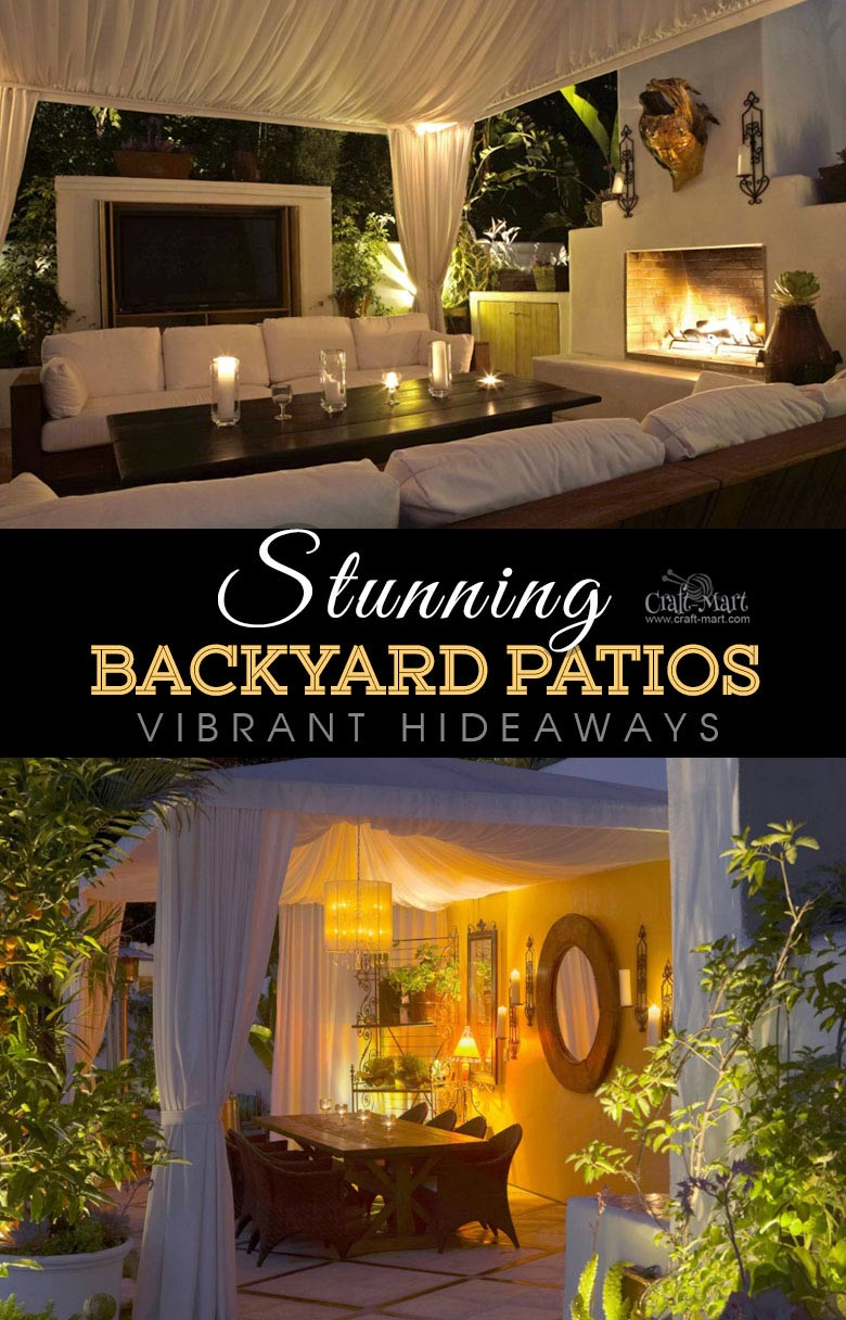 Vibrant eclectic hideaway lighting solution. One of the best backyard patio designs with outdoor ceiling lights that may help with your own patio ideas or outdoor landscape lighting. Perfect for small backyard patio. #outdoorspace #outdoordecor #outdoorspaces #patiodecor #patio