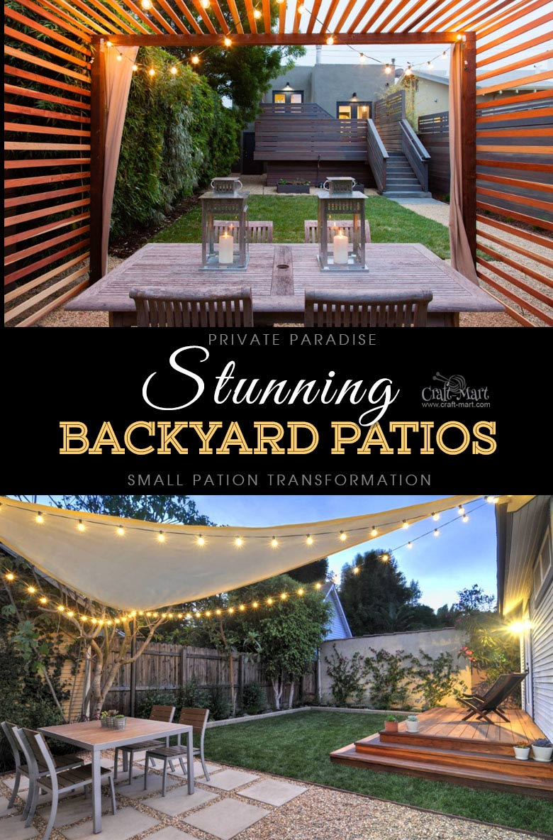 Private Backyard Paradise with Lanterns and String Lights. One of the best backyard patio designs with outdoor ceiling lights that may help with your own patio ideas or outdoor landscape lighting. Perfect for small backyard patio. #outdoorspace #outdoordecor #outdoorspaces #patiodecor #patio