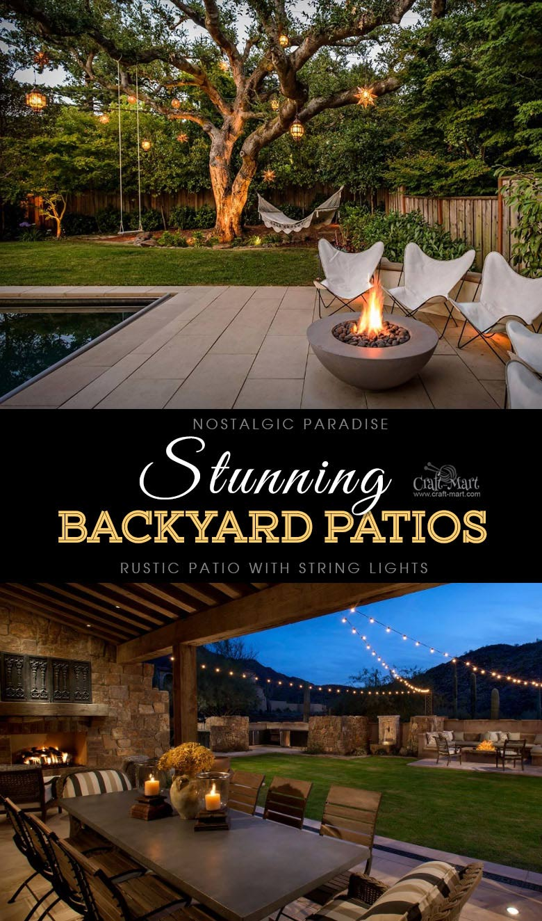 Nostalgic paradise and private rustic retreat. One of the best backyard patio designs with outdoor ceiling lights that may help with your own patio ideas or outdoor landscape lighting. Perfect for small backyard patio. #outdoorspace #outdoordecor #outdoorspaces #patiodecor #patio