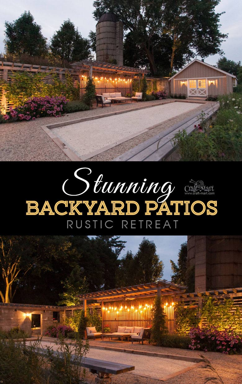 Rustic modern farmhouse retreat. One of the best backyard patio designs with outdoor ceiling lights that may help with your own patio ideas or outdoor landscape lighting. Perfect for small backyard patio. #outdoorspace #outdoordecor #outdoorspaces #patiodecor #patio