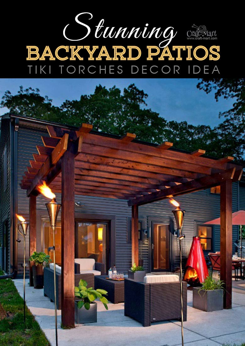 Using tiki torches for back patio lighting solution. One of the best backyard patio designs with outdoor ceiling lights that may help with your own patio ideas or outdoor landscape lighting. Perfect for small backyard patio. #outdoorspace #outdoordecor #outdoorspaces #patiodecor #patio