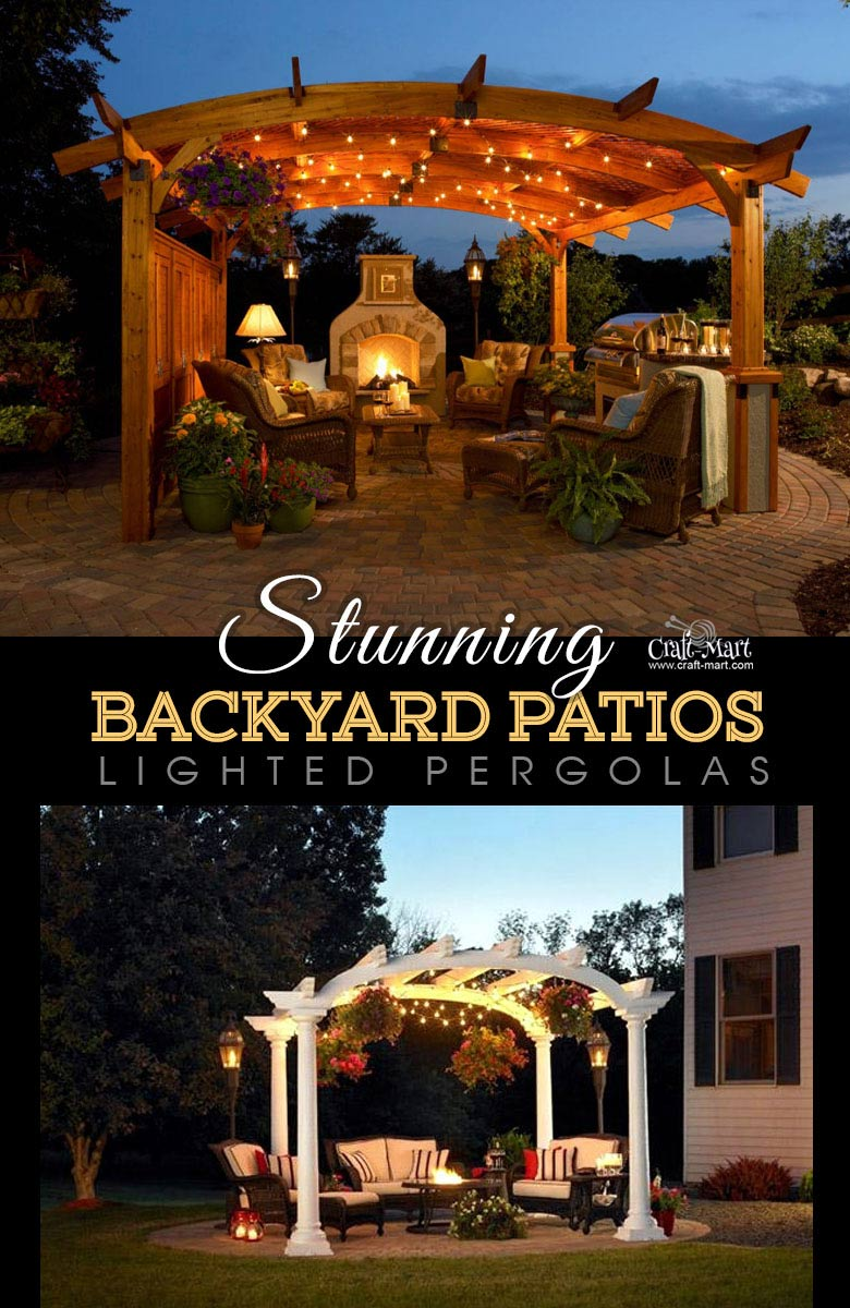 Sonoma Arched Wood Pergola - One of the best backyard patio designs with outdoor ceiling lights that may help with your own patio ideas or outdoor landscape lighting. Perfect for small backyard patio. #outdoorspace #outdoordecor #outdoorspaces #patiodecor #patio