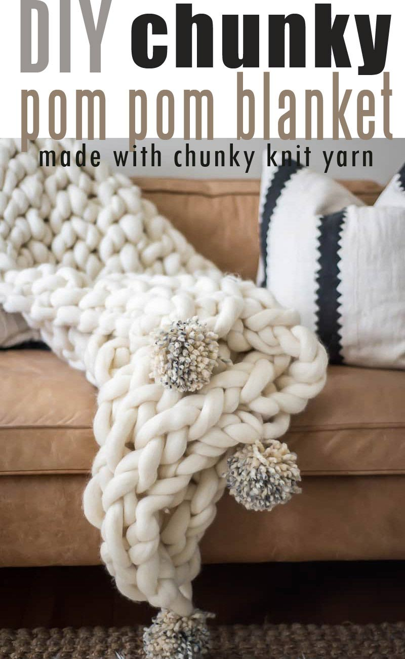 ARM KNIT POM-POM BLANKET TUTORIAL using arm knit blanket yarn #chunkyyarn #giantarmknit #diychunkyblanket #chunkyblanket #chunkylapthrow #pompomchunkyblanket