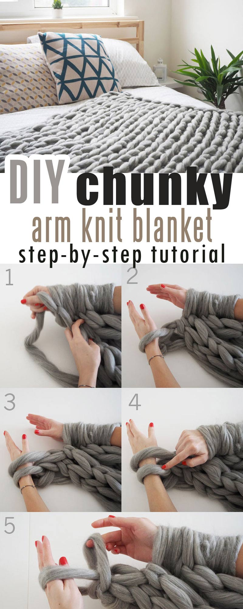 Giant kint arm blanket step by step tutorial #chunkyyarn #giantarmknit #diychunkyblanket #chunkyblanket #chunkythrow #chunkyyarn #chunkyyarnforarmknitting
