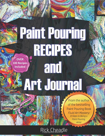 Acrylic Paint Pouring recipes book that we recommend for fluid art beginners.