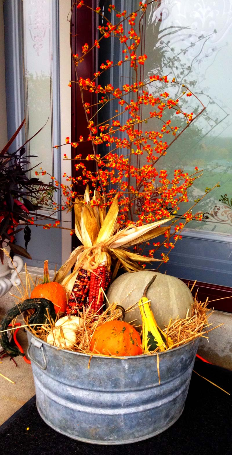 small front porch decorating ideas - easy farmhouse washtub centerpiece with colorful fall gords, pumpkins, corn, and fall bushes #frontporchideas #outdoorfalldecoratingideas #smallfrontporchdecoratingideas