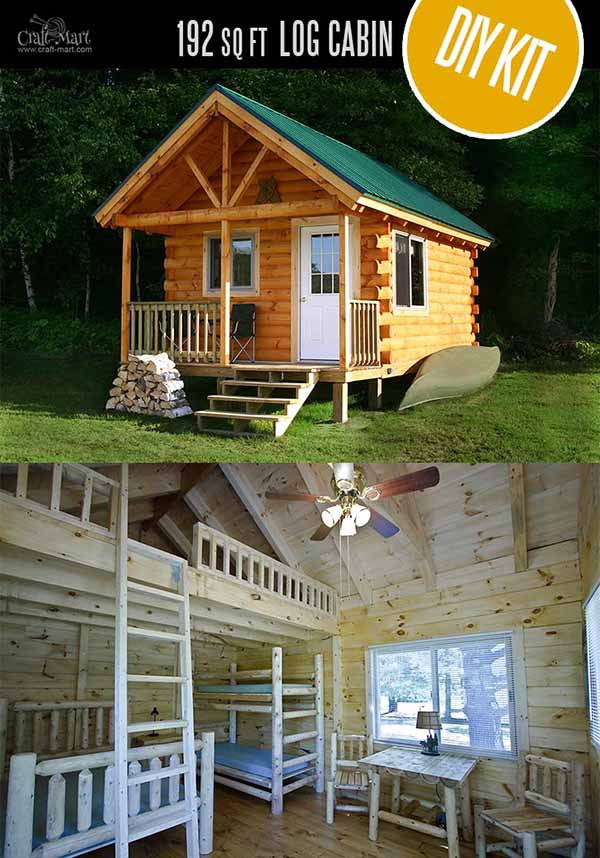 Gateway Log Cabin by Coventry Log Homes - quality tiny log cabin kits and pre-built cabins that you can afford! Choose from a few options of pre-built cabins to small log cabin kits that you'll be able to assemble in 3-4 weeks saving on labor close to 1/3 of the total cost. #tinyhouses #logcabins