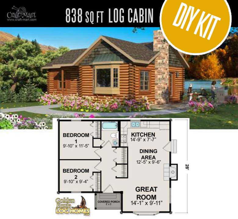 Red Lake Log Cabin by Golden Eagle Log & Timber Homes - quality small log cabin kits and pre-built cabins that you can afford! Choose from a few options of pre-built cabins to small log cabin kits that you'll be able to assemble in 3-4 weeks saving on labor close to 1/3 of the total cost. #tinyhouses #logcabins #countryliving