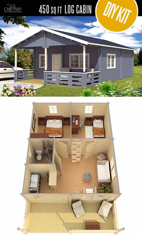Toledo D Cabin/Home by EZ Log Structures - quality small log cabin kits and pre-built cabins that you can afford! Check out these Estonian super quality cabin homes that are even more affordable than US-made log cabins! #tinyhouses #logcabins #countryliving