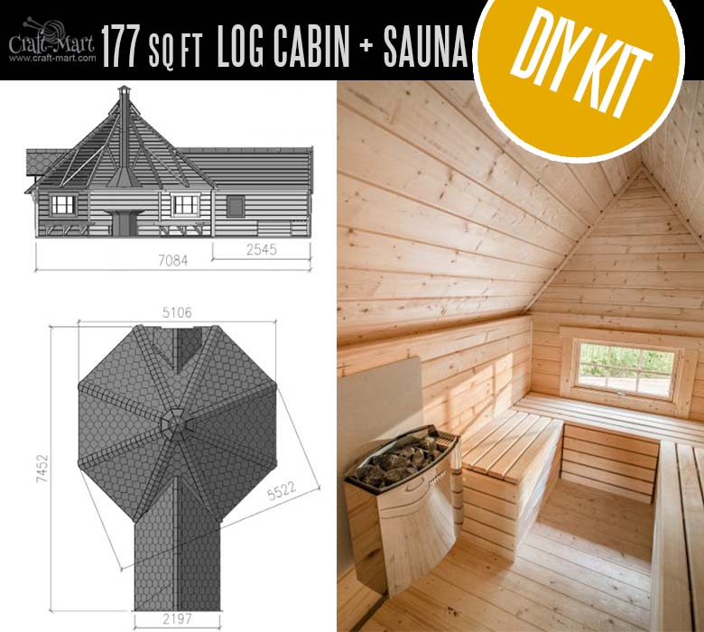 Grill Cabin with Sauna (FREE shipping in the USA!) - convert sauna into a bathroom and upgrade the grill to full kitchen! Check out these Estonian super quality cabin homes that are even more affordable than US-made log cabins! #tinyhouses #logcabins #countryliving