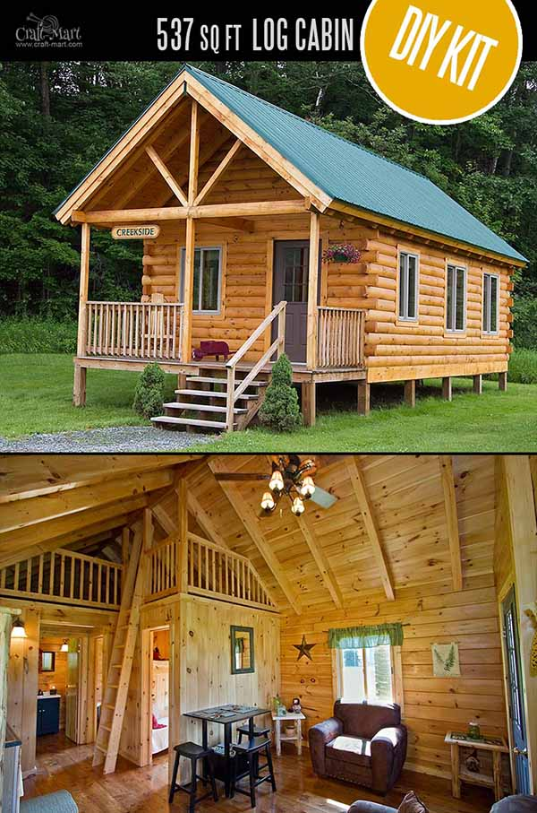 Creekside Log Cabin by Coventry Log Homes - quality tiny log cabin kits and pre-built cabins that you can afford! Choose from a few options of pre-built cabins to small log cabin kits that you'll be able to assemble in 3-4 weeks saving on labor close to 1/3 of the total cost. #tinyhouses #logcabins #countryliving