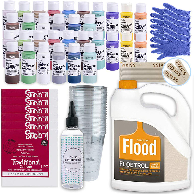 XL acrylic pouring bundle you can order from Amazon to get everything you need for making gorgeous fluid art!