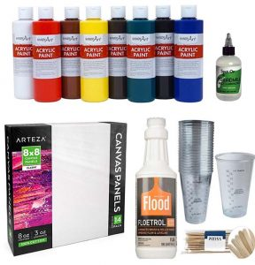 """Fluid Art Starter #1"" Acrylic pouring set for beginners - can be the best gift idea for any occasion like retirement, birthday, Christmas, etc. Becoming a fluid artist is easy and fun! Learn acrylic pour painting - you'll not regret it!"