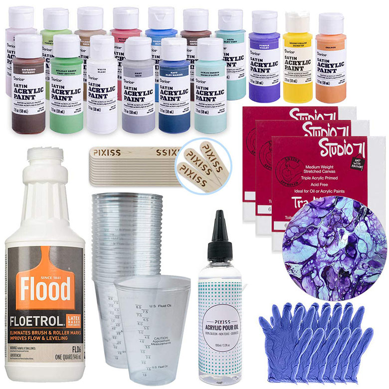 acrylic pouring bundle you can order now to get everything you need for making fluid art!