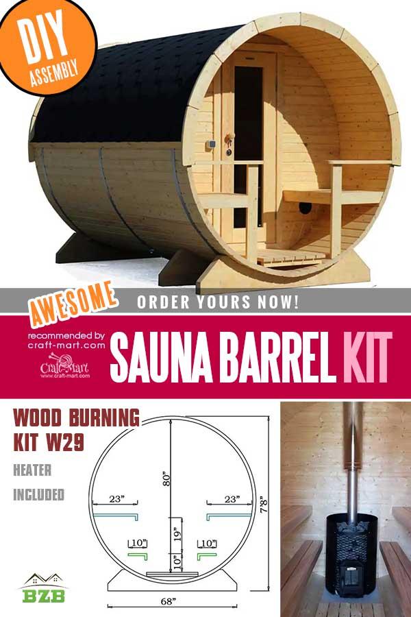 Wood Burning Barrel Sauna Kit W29 (Heater Included)
