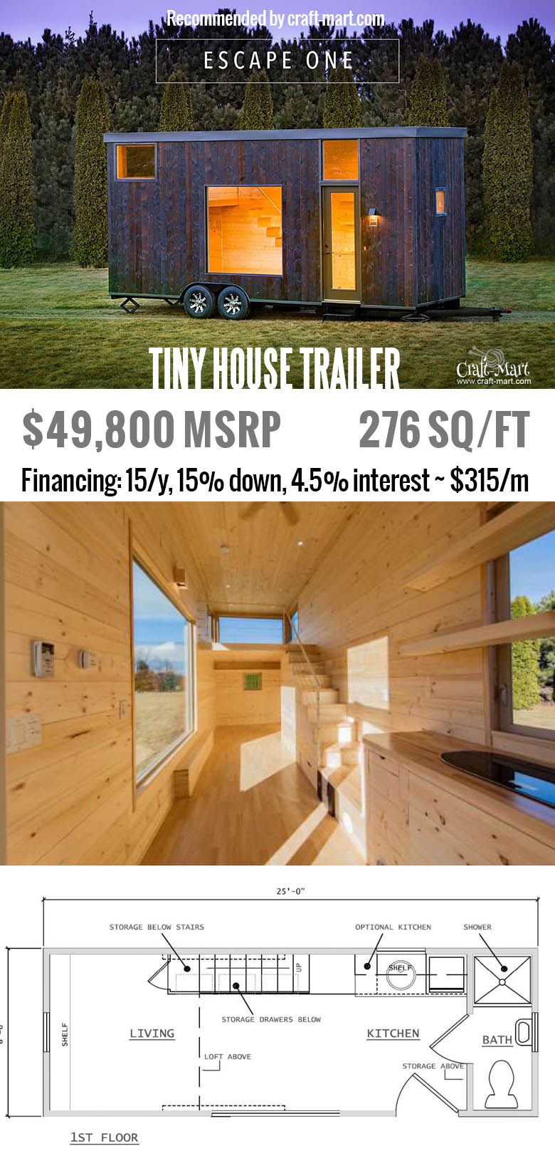 276 sq/ft. including second floor. Get one of these for FREE and start earning money from renting it! Or simply buy one of the most beautiful tiny house trailers with easy financing starting from $195/m! #tinyhouse #tinyhouseplans #minimalism