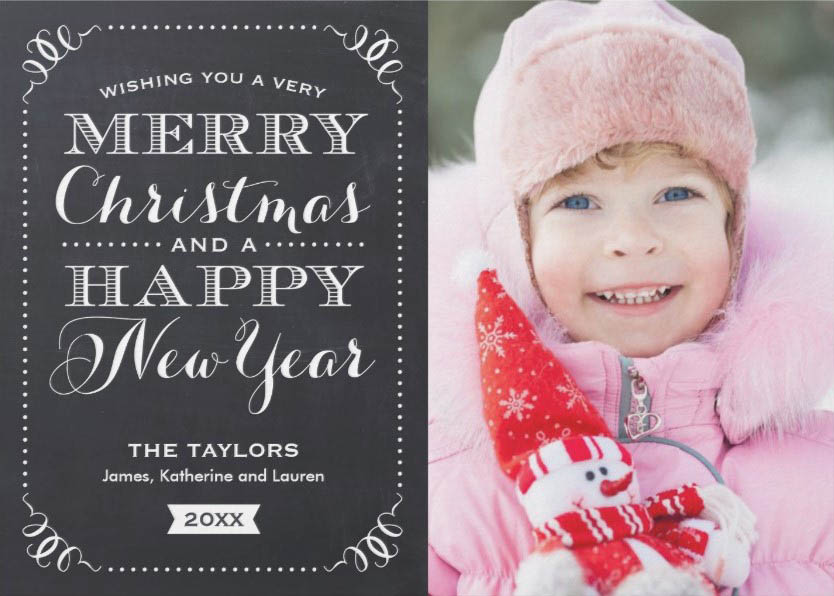 Christmas Cards Ideas to Cheer Up your Family and Friends - Chalkboard Style with Cute Christmas Photos