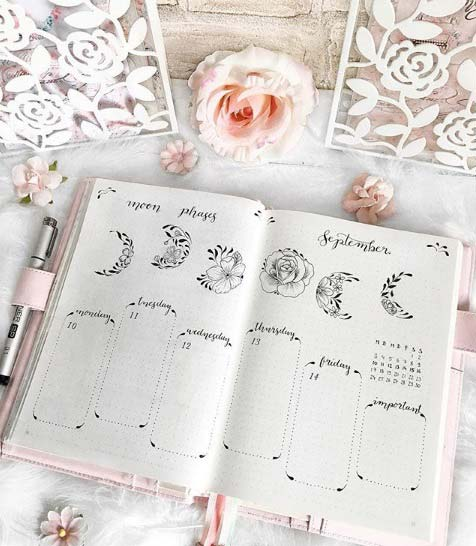 Fall bullet journal page ideas - phases of the moon #bujo #bulletjournal