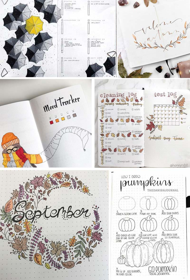 Fall bullet journal page ideas and examples #bujo #bulletjournal