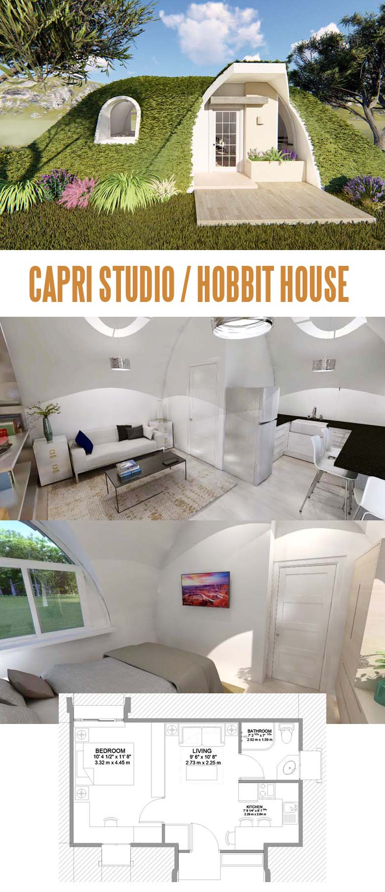 Capri Tiny Home. Stop envying Bilbo's fancy Hobbit house! Get your own tiny real estate!