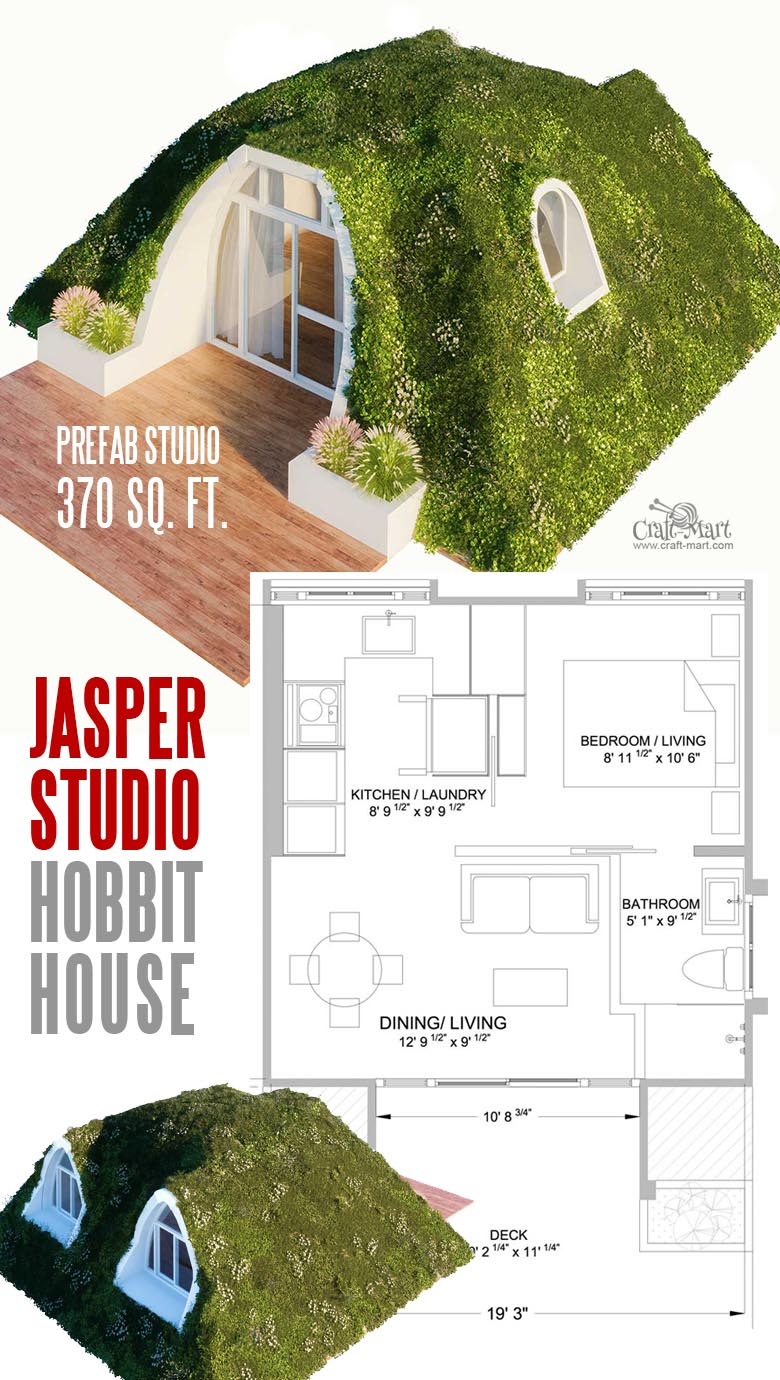 "Tiny House for Hobbits ""Jasper"". Get your own! See the most amazing line of prefabricated Hobbit-style homes that are low maintenance and energy efficient."
