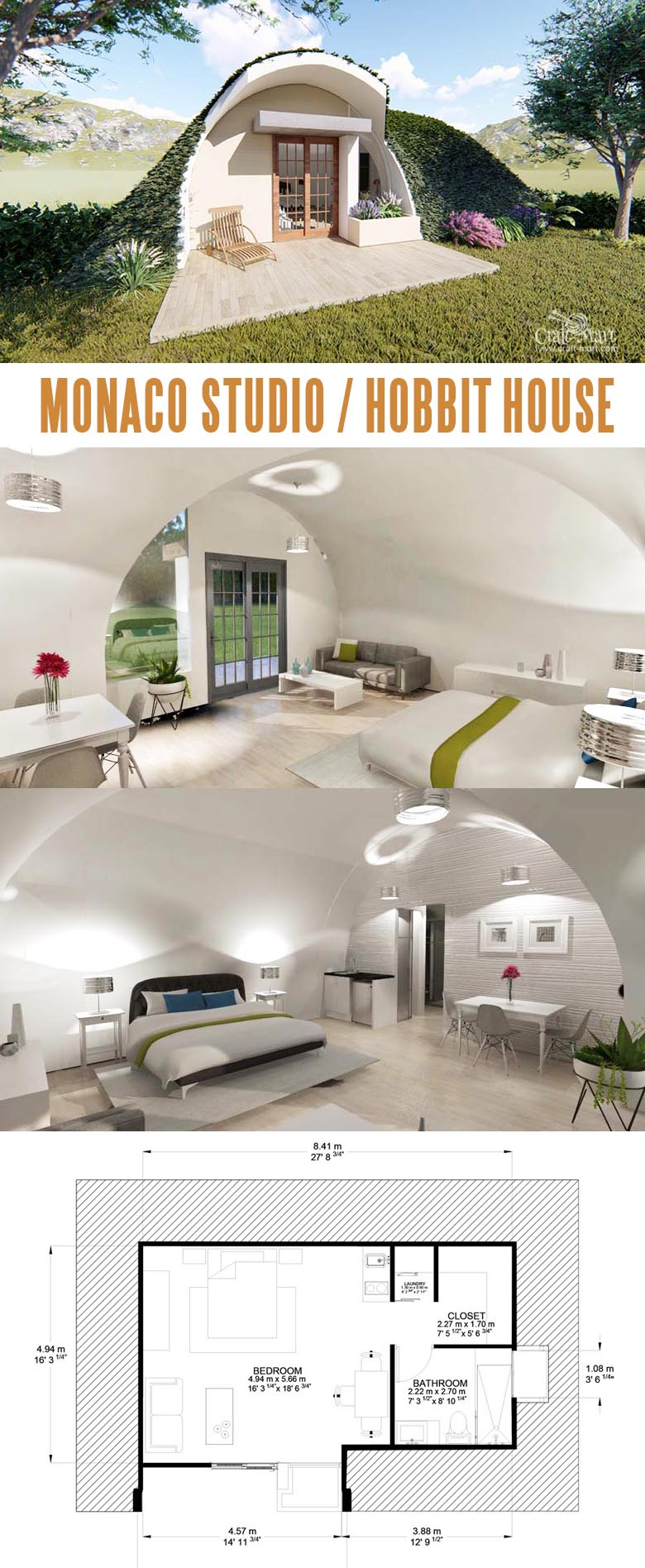 Monaco Studio (Tiny Hobbit House). Modular units can be interconnected creating luxury Hobbit estates.