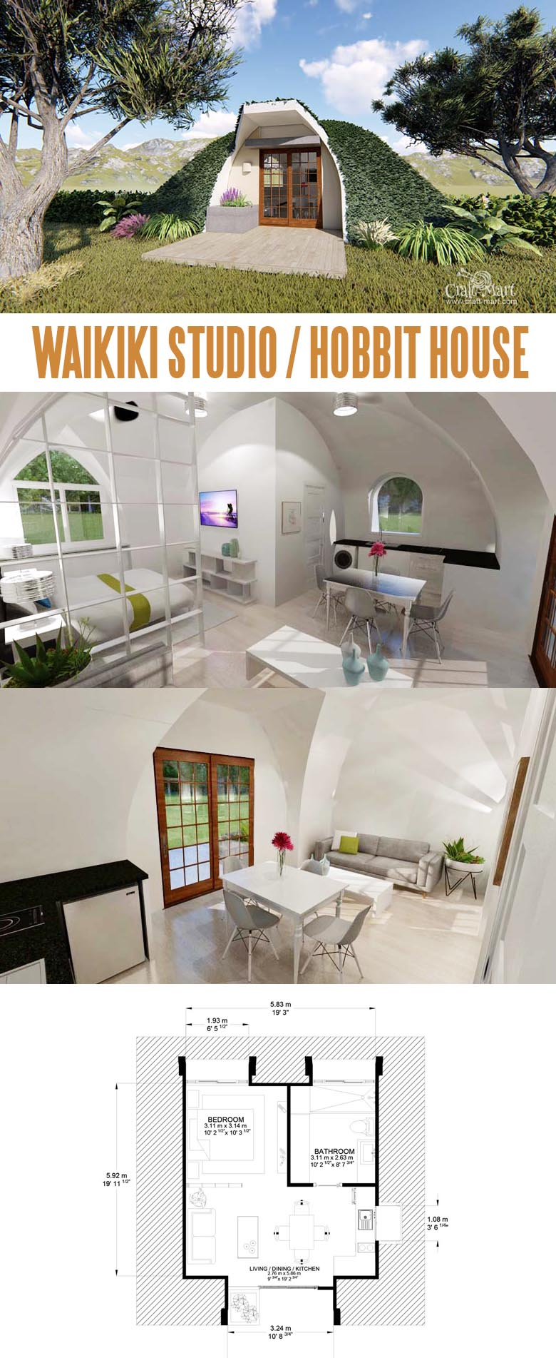 Waikiki Tiny Hobbit House. Tiny modular units can be interconnected creating luxury Hobbit estates. See the mazing line of prefabricated Hobbit-style homes that are low maintenance and energy efficient.