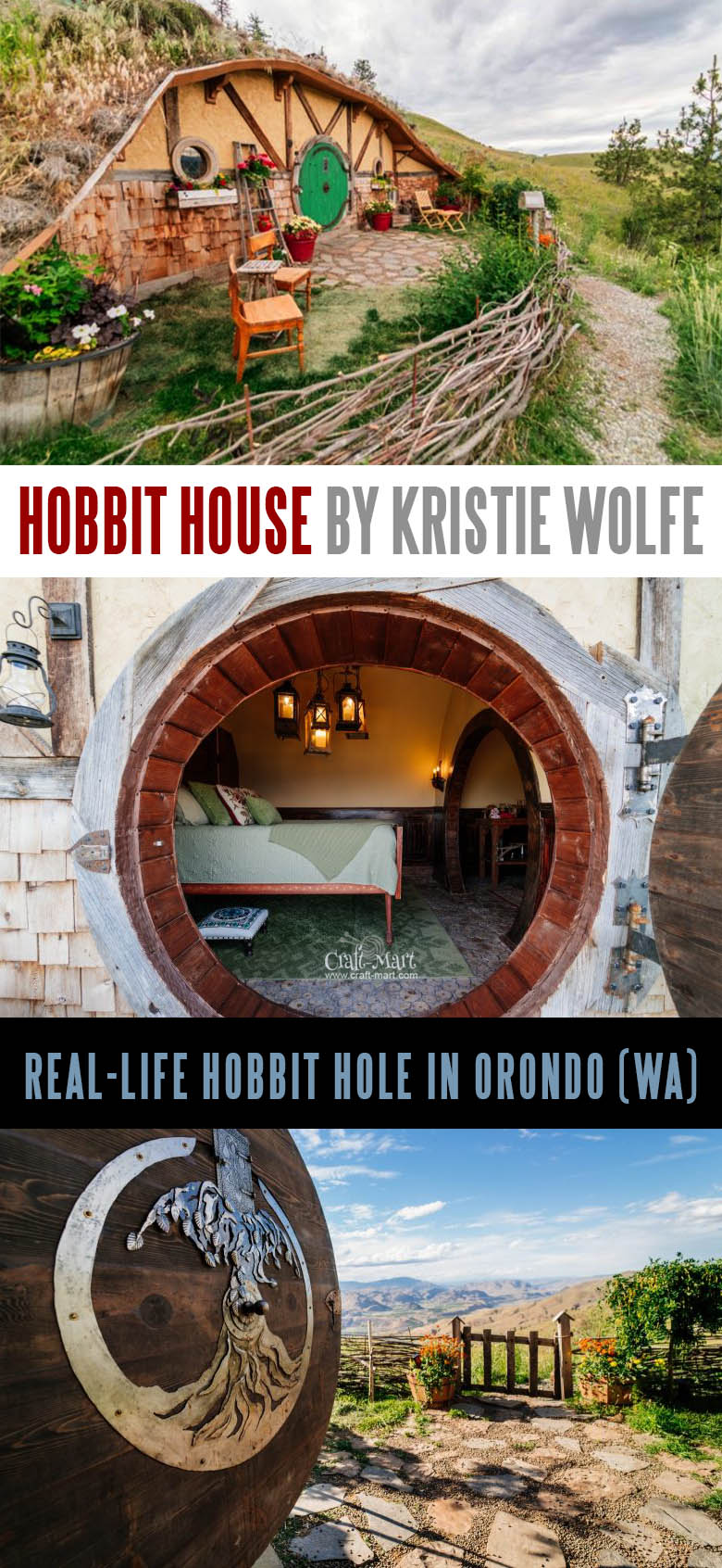 One of the cutest Hobbit houses around that you may rent for a night. Give it a try or read about prefab tiny hobbit homes.