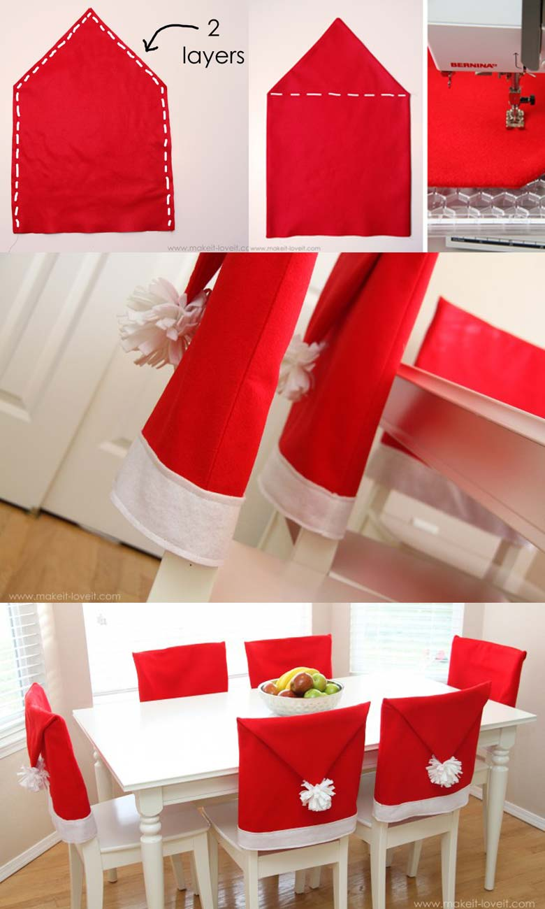 How to decorate a small living room for Christmas - Santa Hat Chair Covers #smallspaces #tinyhouseliving #smallspaceliving #smallroomdecor #christmasdecorideas #DIYSantaHatChairs