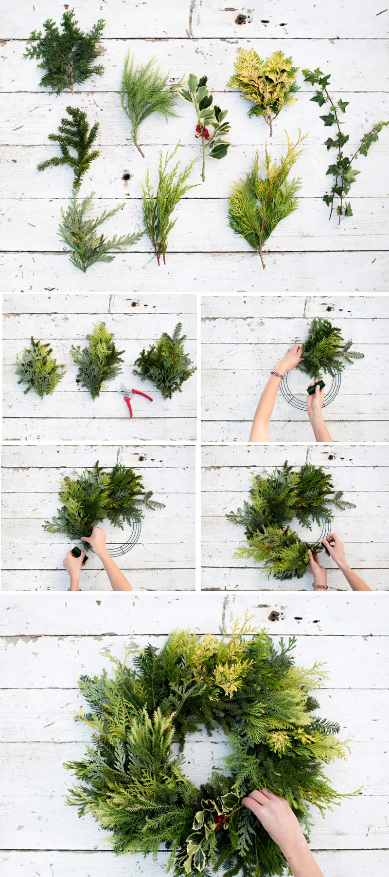 How to decorate a small living room for Christmas - FORAGED EVERGREEN WREATH #smallspaces #tinyhouseliving #smallspaceliving #smallroomdecor #christmasdecorideas #DIYChristmaswreath
