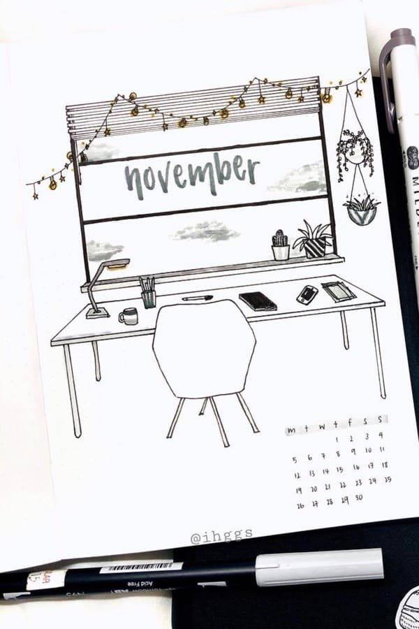 November Bullet Journal Cover