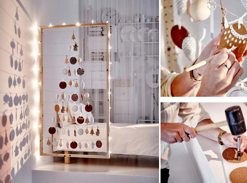 how to decorate a small living room for christmas - Space-saver Christmas Tree alternative #smallspaces #tinyhouseliving #smallspaceliving #alternativechristmastree #christmastreedecorideas #ikeahack