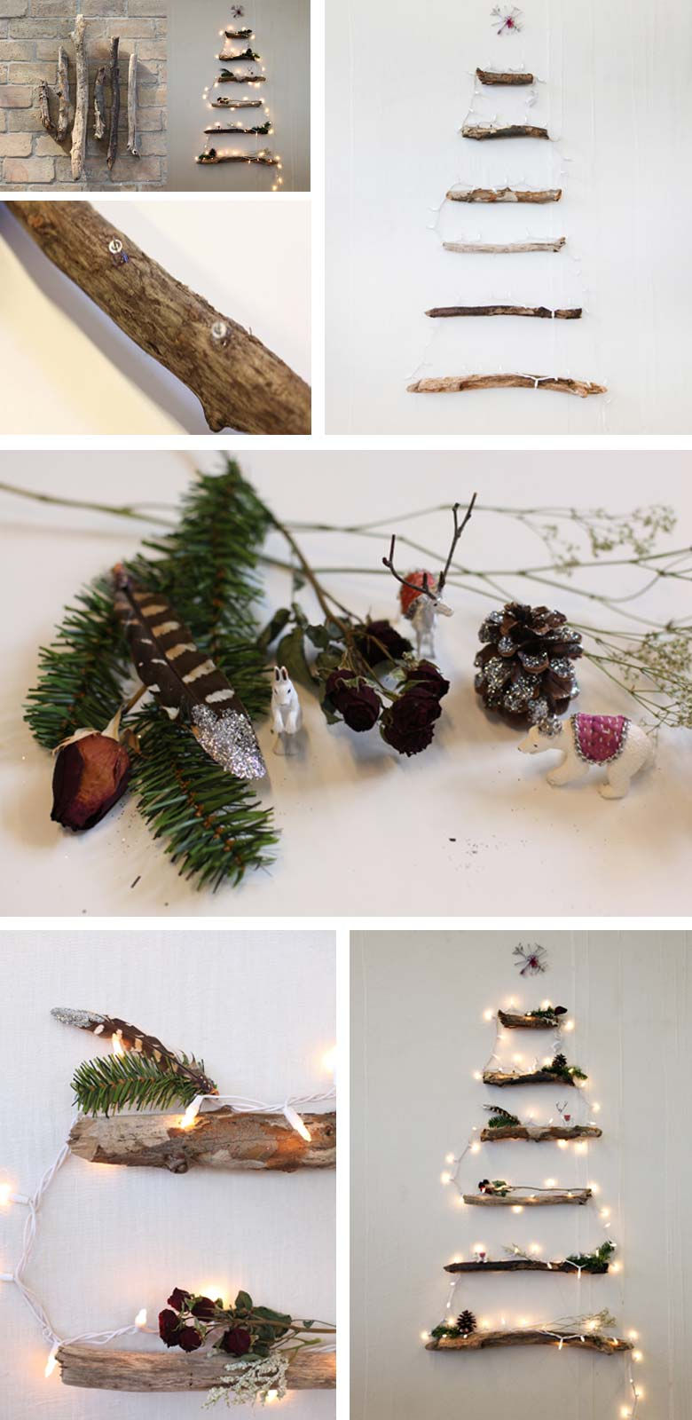 how to decorate a small living room for christmas - DIY Alternative Christmas Tree with Lighted Branches #smallspaces #tinyhouseliving #smallspaceliving #alternativechristmastree #christmastreedecorideas