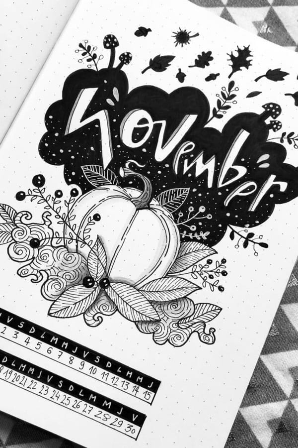 Black and White November Bullet Journal cover