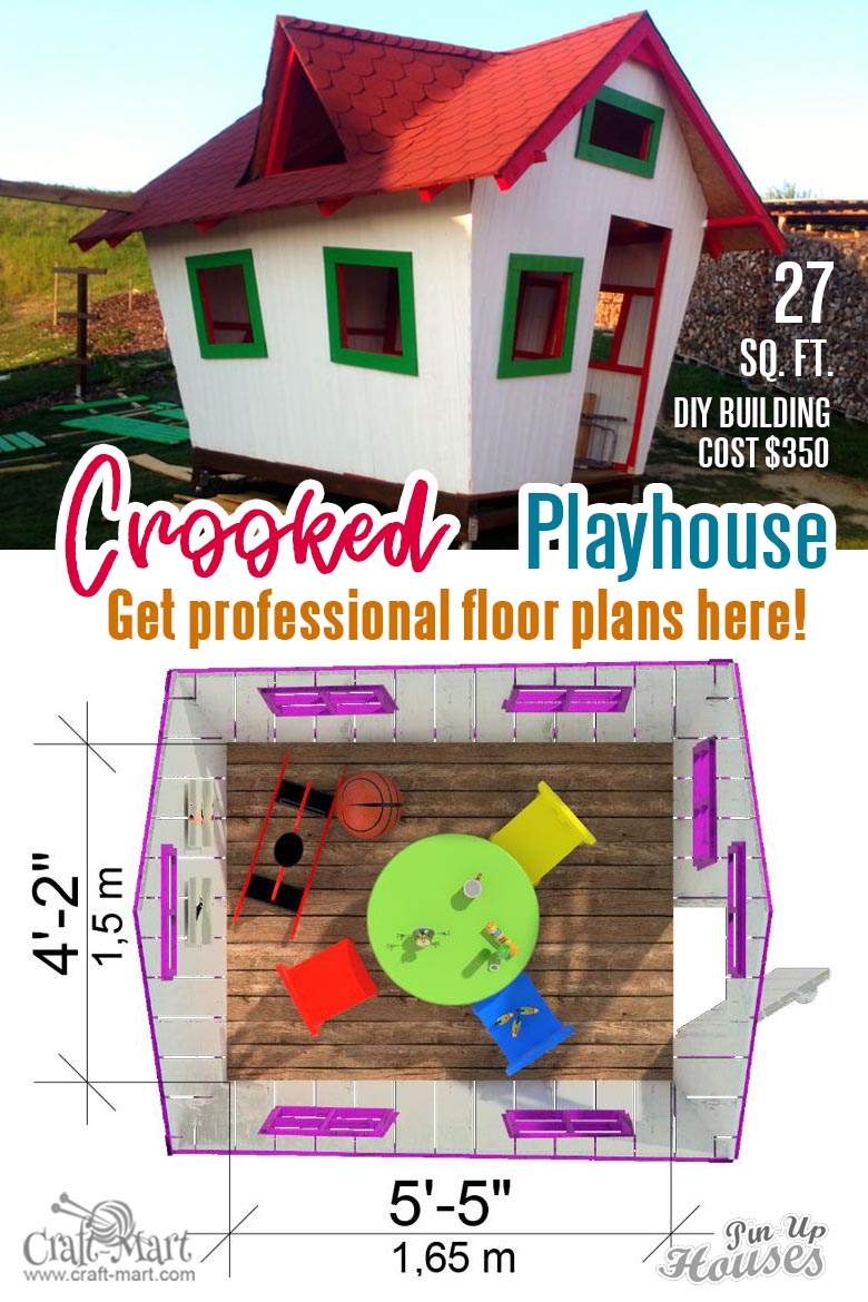 affordable crooked playhouse plans with a list of the materials