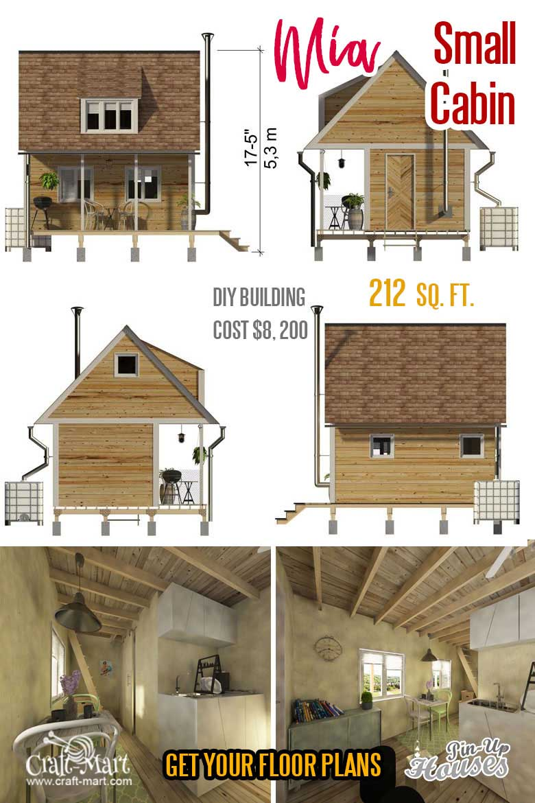 small cabin plans with loft and porch Mia