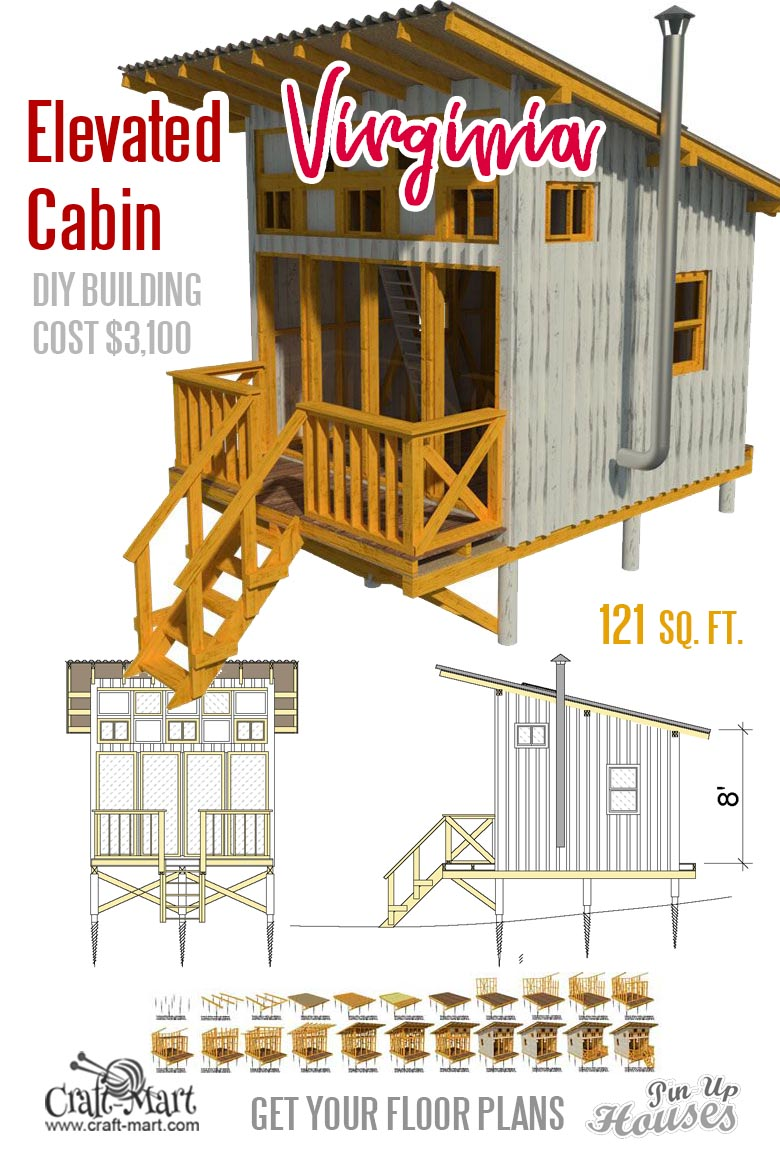 """Virginia"" - Elevated cabin with a loft and a porch"