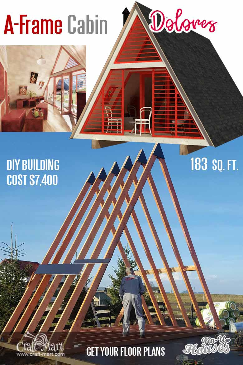 The main advantage of the A-frame small house floor plans is in their simplicity.  It is easy to erect and very sturdy once finished. Building a pyramid would be the safest for seismically-active areas but can be a lot more challenging project. #tinyhouse