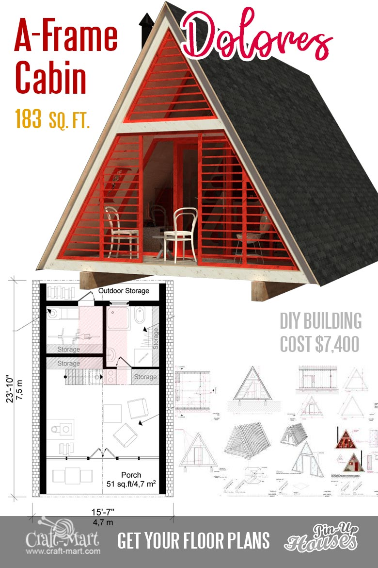 Cute Small Cabin Plans (A-Frame Tiny House Plans, Cottages ... on narrow beach house designs, narrow house plan designs, narrow lake house designs,