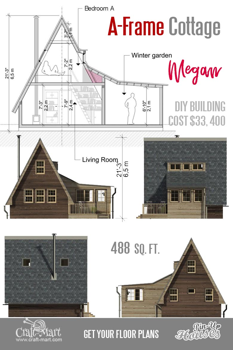 One of the best A-frame small house floor plans! It can be a really good vacation home for two. #tinyhouse