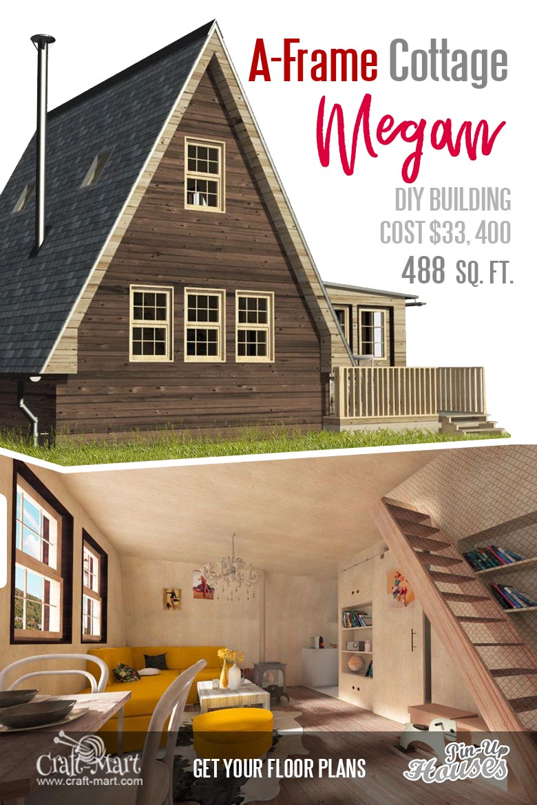 Look at this perfect A-frame small house floor plan! Nice and cozy interior, winter garden and warm wooden interior #tinyhouse