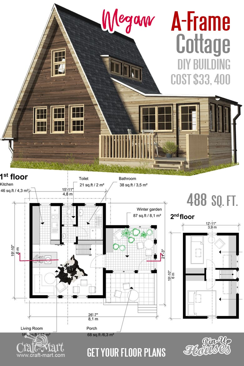 What a nice A-frame small house floor plan! It can be a really good vacation home for two. #tinyhouse
