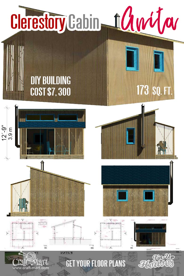 Small cabin plans for Anita. Building a small cabin like Anita on your own is very realistic.#tinyhouse