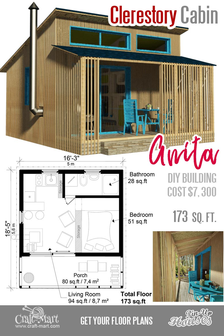 Small cabin plans for Anita. This small cabin is a good choice for a vacation home.#tinyhouse