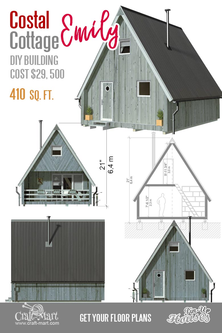 A-frame small house Emily is a two-story two-bedroom tiny house that you can build within a few weeks. Utilizing an open floor concept,  the ground level provides enough space for regular small family activities. The second floor has two rooms that can be used as bedrooms.   #tinyhouse