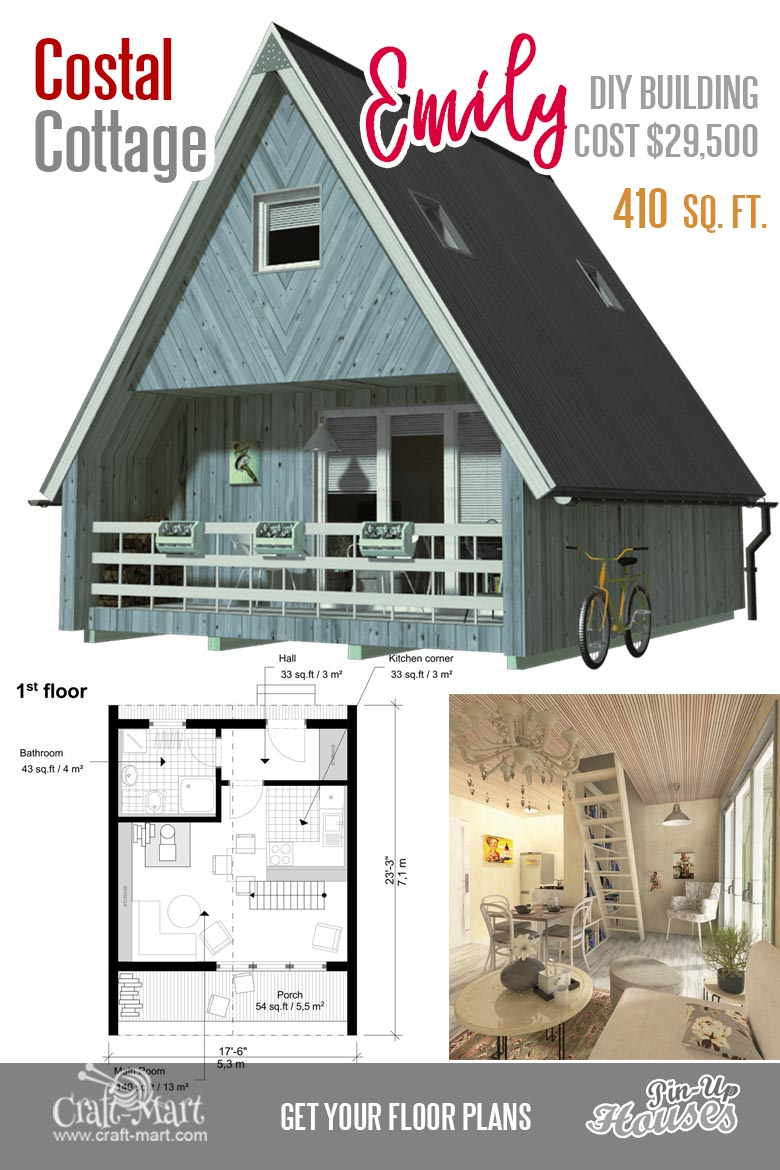 A-frame small house Emily is a two-story two-bedroom tiny house that you can build within a few weeks. The ground floor has a porch and the house itself can be comfy for 2 or even 3 people.  #tinyhouse
