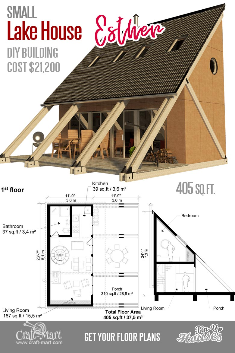 This small cabin plan is designed to attract people's attention. At $21,200 estimated construction cost for ~400 sq. ft. of livable space it's not too bad.  #tinyhouse